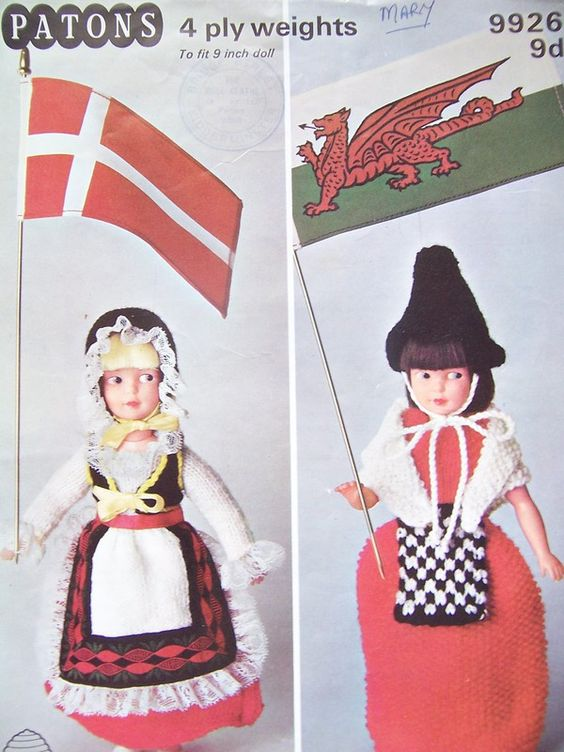 Knitting Patterns For Welsh Dolls : Patons 9926 Knitting Pattern DANISH and WELSH NATIONAL COSTUMES Dolls Clothes...