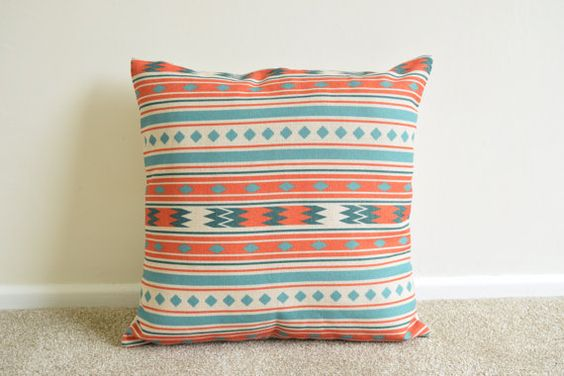 Welcome to SimplySkandi :)  Pattern: Kilim/Aztec/Scandi/Tribal Design in Orange & Teal  Item: Decorative Cushion Cover (insert not included) Product