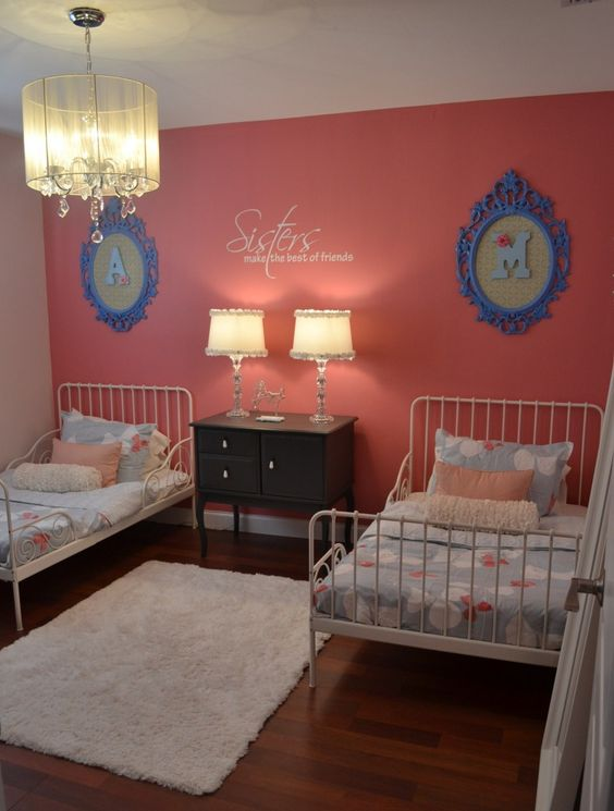 Like the painted frames (Ikea) with initial. Also like the bedside table (Ikea).
