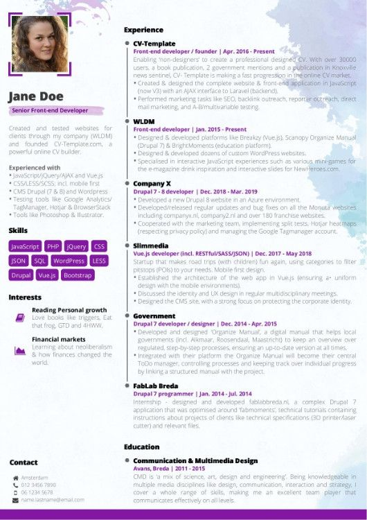 Awesome Free Online Cv Template Pictures Di 2020