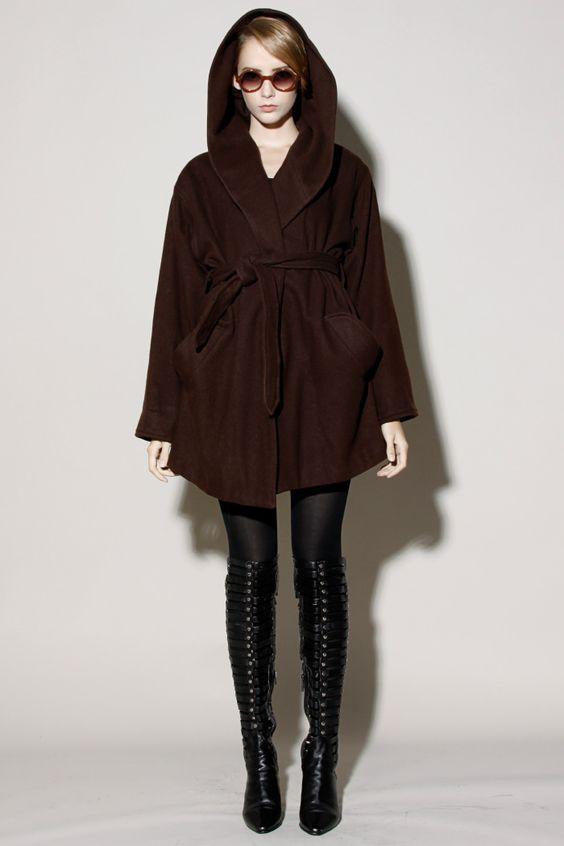 Vintage Brown Hooded Coat http://thriftedandmodern.com/vintage-90s-brown-hooded-coat
