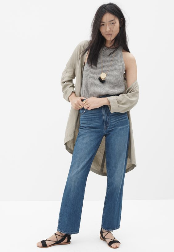 madewell westside straight jeans worn with the cropped valley sweater-tank + drapey open jacket.: