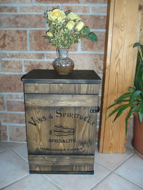 Shabby Frachtkiste Mini Bar Vintage Couchtisch Whiskey Rot Wein ...