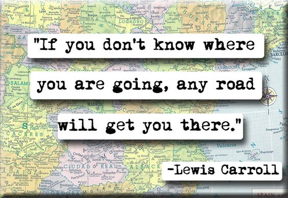 """""""If you don't know where you are going, any road will get you there."""" - Lewis Carroll (magnet from etsy.com)"""