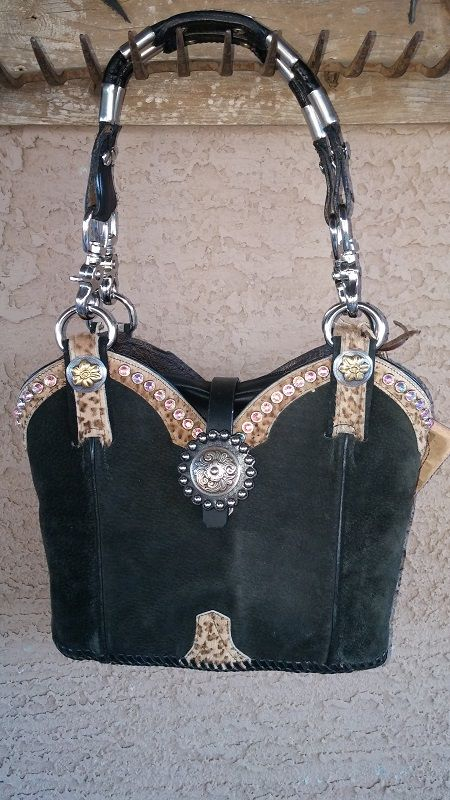 Cowboy boot purse made ariat boots and miniature horse tack
