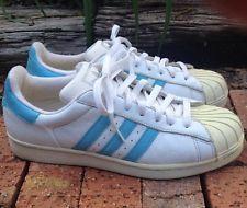mens white adidas superstar blue stripes