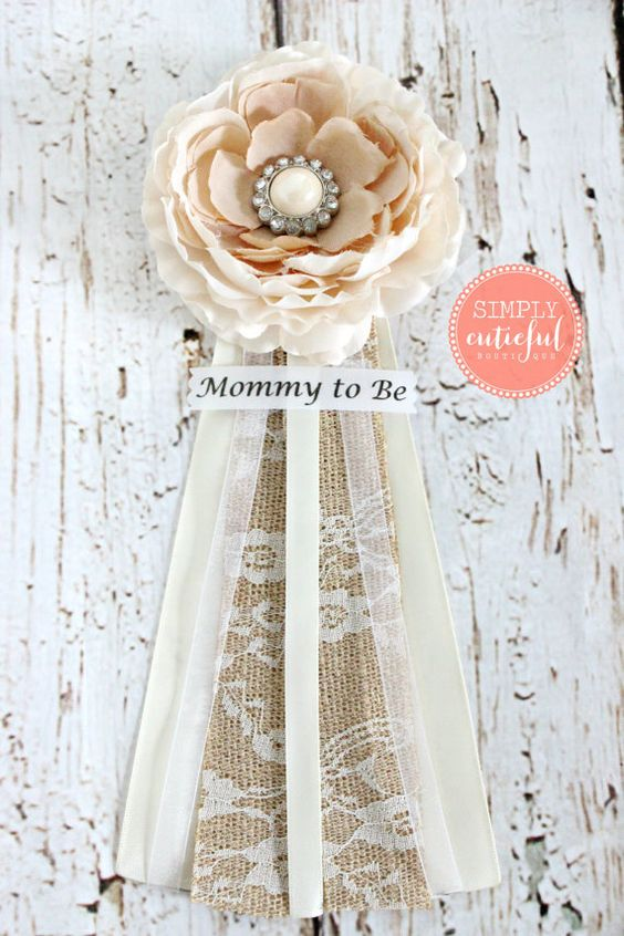 Vintage Burlap Lace Baby Shower Corsage with Mommy to Be by simplycutieful. Perfect for a fall themed baby shower.