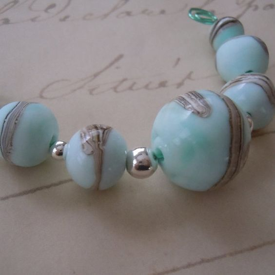 Organic Sky Blue with Silvered Ivory Lampwork by JBlackmerJewelry, $12.00