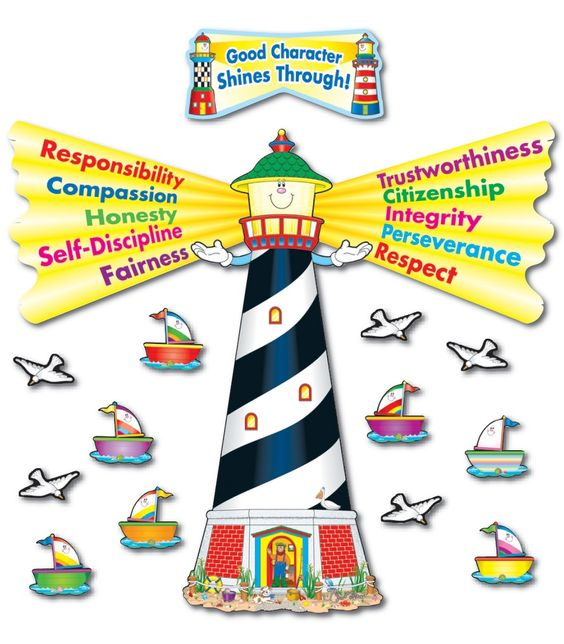 Let you students good traits radiate by displaying Good Character Shines Through Bulletin Board Set! The bulletin board set contains a four-piece lighthouse, 26 boat accent pieces, 20 seagull accent pieces, a header, and a teacher resource guide. Included in the resource guide are cross-curriculum activities and reproducible award and boat patterns.