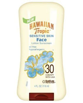 Hawaiian Tropic Sensitive Skin Oil Free Faces Lotion SPF 30 Sunscreen-4 oz