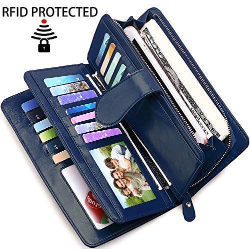 RFID blocking Card Holder-Cuir Card Case et poche avant portefeuille avec fermeture