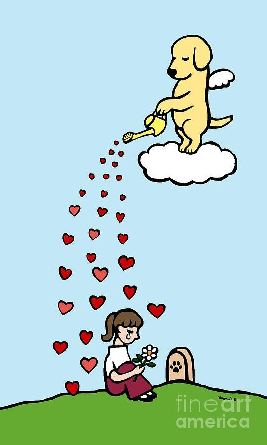Yellow Labrador Angel And Mom Digital Art - Yellow Labrador Angel And Mom Fine Art Print