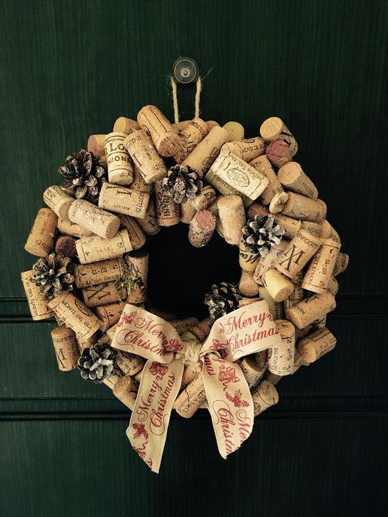 Christmas wreath cork Wine garland ideas Shabby chic home Made - merry christmas - juta