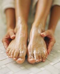 DIY Foot scrub  1/2 C. Oats, ground in blender or processor    1/2 C. Cornmeal    1/2 C. Coarse salt    1/2 C. Olive oil.           Another way to look at this is, equal parts of each.  You may add essential oils if you would like but I think this recipe is perfect on its own.  All you have to do is mix all the ingredients together until well blended and you have the perfect foot scrub.  It will leave your feet super soft.