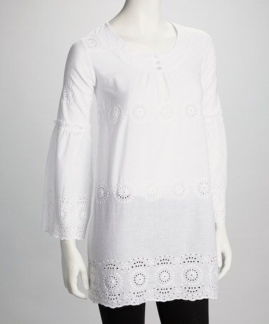 I need a white tunic like this one. :-)  Take a look at this White Embroidered Tunic by Blue Plate on #zulily today!