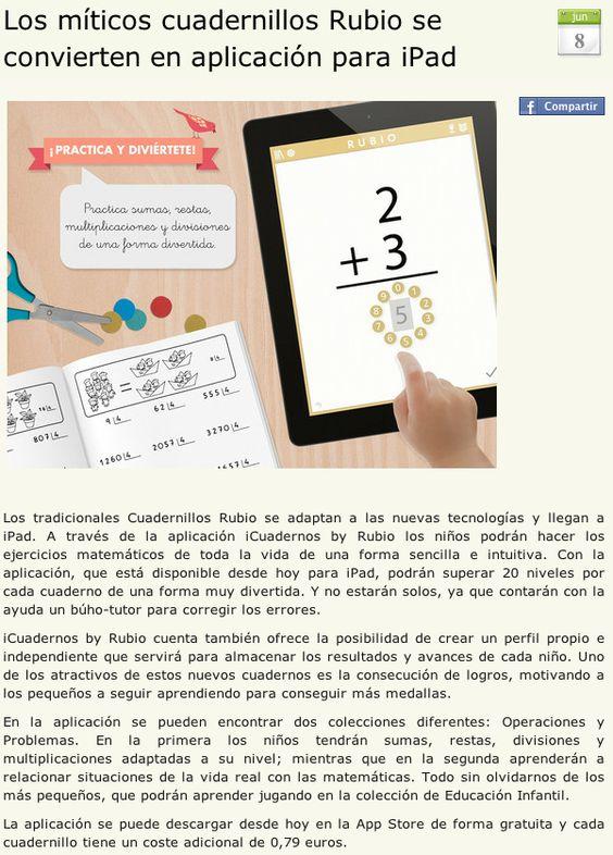 Nota de prensa sobre iCuadernos by Rubio en Sarpanet.