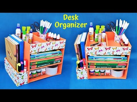 Diy How To Make Desk Organizer With Waste Cardboard Best Out Of Waste Space Saving In 2020 Diy Paper Crafts Decoration Desk Organization Diy Cardboard Crafts Diy