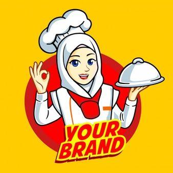 Woman Muslim Chef Kartun Animasi Gambar Kartun