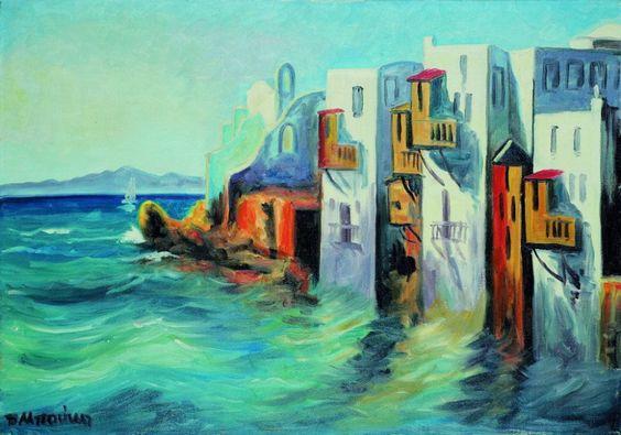.:. Μπούκη Δώρα – Dora Mpouki [1916-1981] Μικρή Βενετία, Μύκονος Little Venice, Mykonos