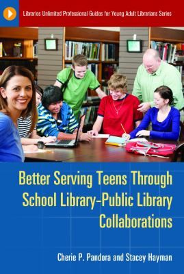 Better serving teens through school library-public library collaborations / Cherie Pandora and Stacey Hayman. / Santa Barbara, Calfornia : Libraries Unlimited, 2013. -- In this practical guidebook, experienced librarians—a public librarian and a school librarian—share advice and ideas for extending resources, containing costs, and leveraging capabilities between school and public libraries, offering insights and strategies to overcome today's economic challenges.