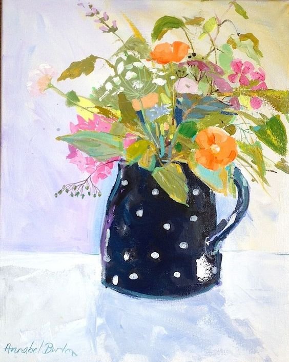 Signed Original Acrylic Painting on Canvas -Jug of Flowers- by Annabel Burton