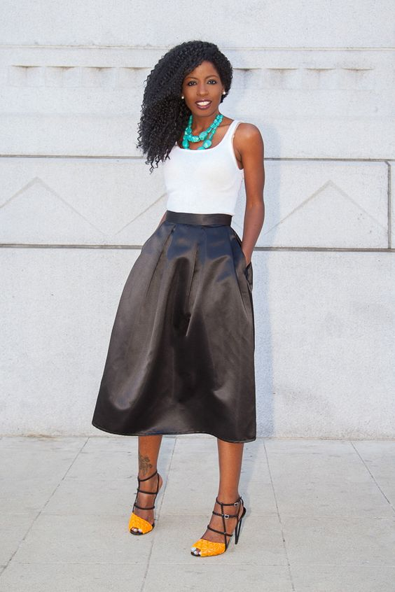 Style Pantry, White Tank   Black Box Pleat Midi Skirt | Style ...