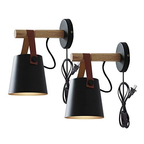 Kiven 2 Pack Iron Art Belt Wall Lamp Ul Certification Plug In Button Cord Lighting Round Bucket Loft Style Wall Lamp Wall Lamps With Cord Swing Arm Wall Lamps