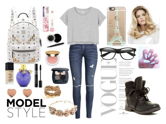 """""""Back in school"""" by uncompleted-1 ❤ liked on Polyvore featuring H&M, Monki, MCM, Mary Kay, Rock & Candy, LAQA & Co., NARS Cosmetics, Bare Escentuals, Isaac Mizrahi and Casetify"""