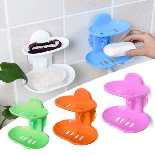 Bathroom Shower Soap Box Dish Storage Plate Tray Holder Case Container Suction