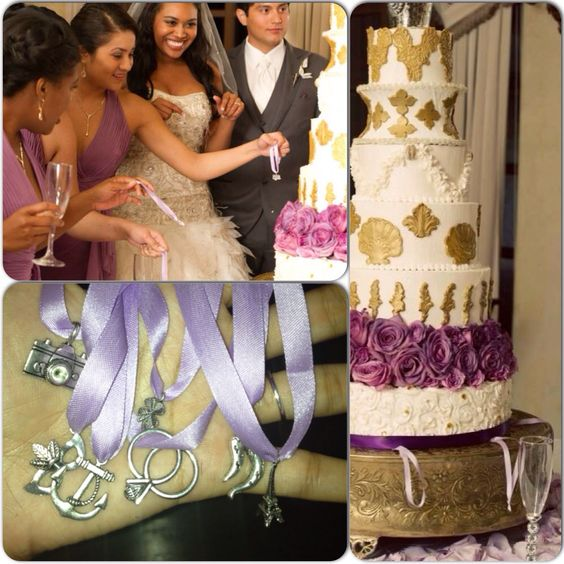"Most popular in the south, the Cake Pull gets its roots from an old Victorian tradition of ""ribbon pulling."" In those days, charms of luck and good fortune were placed into the wedding cake by the bride for her single friends. Now a days, bakers place sterling silver charms with specific means inside the bottom layer of the bride's cake and all the single ladies are given the opportunity to pull a charm from the cake (a ceremony called the ""ribbon pull"") just before the cake is cut…"
