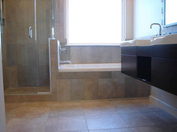 17x17 Italian Tile On The Floor Walk In Shower Custom Glass Adjoining Drop In Tub Bathroom