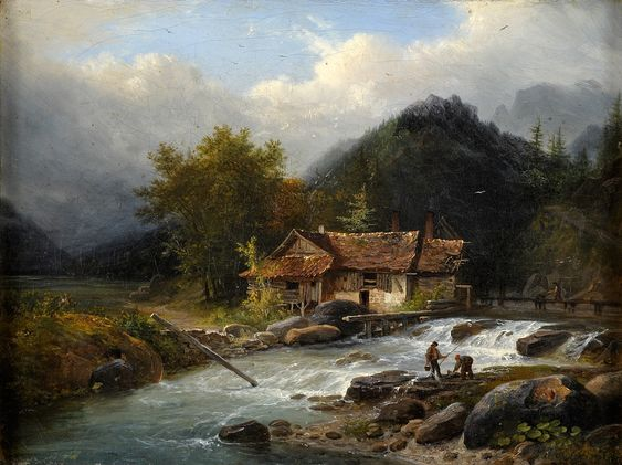 "Duesseldorfer Auktionshaus - ""Watermill on a Stream"" by Louis Etienne Watelet (1780-1866)"