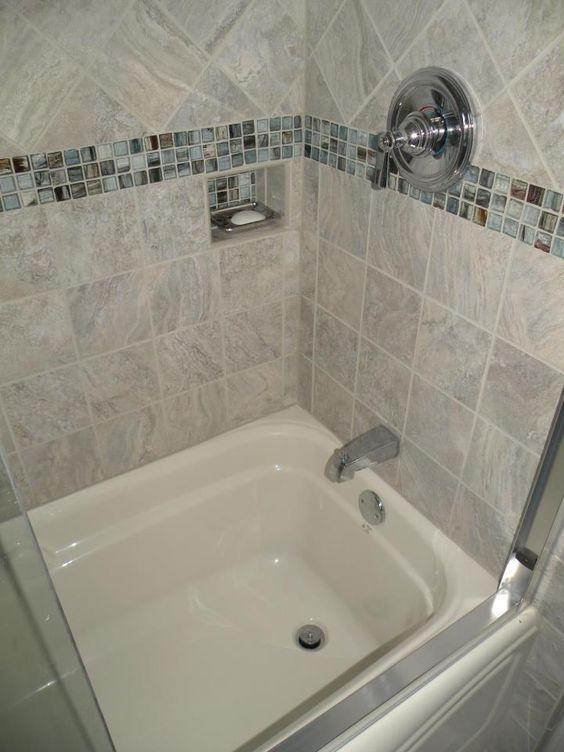 Blue Bathroom Wall Tile 6x6: Deep Soaking Tub Surrounded With 6x6 Italian Porcelain