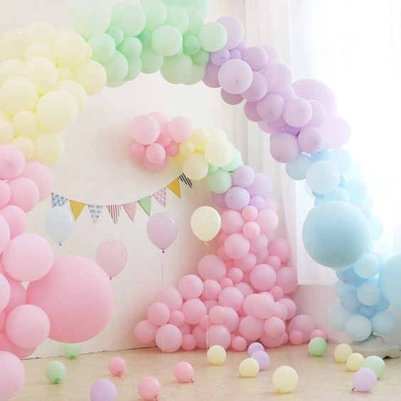 pastel colored balloon for birthday party