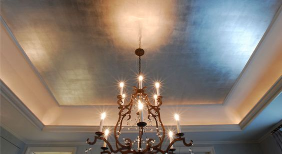 I particularly love ceilings in metallic finishes where a glow is cast from light fixtures.  Powder rooms or guest bathrooms are additionally glamorous with metallic finishes.: