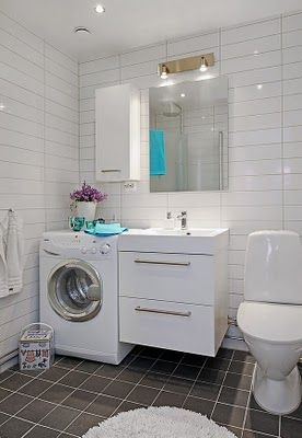 At first glance this looks wrong, but having a washing machine in a bathroom seems more logical than having it in a kitchen, the more you think about it. #bathroom