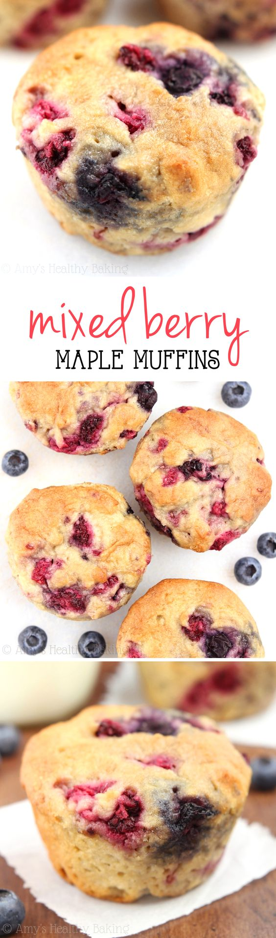 Maple Mixed Berry Muffins -- these healthy, clean-eating muffins practically taste like cupcakes! Under 150 calories too! (Sub half AP half WW for WW pastry flour)