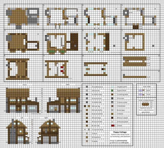 Poppy Cottage - Medium Minecraft House Blueprints by planetarymap.deviantart.com on @DeviantArt