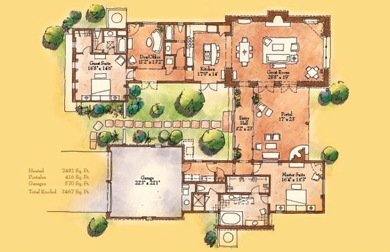 Santa fe spanish colonial houses and fes on pinterest for Hacienda floor plans with courtyard