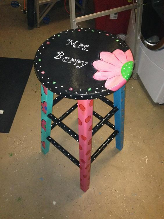 Teacher Stool - Great end of the Year Gift.  Maybe have the kids write their names on the legs?