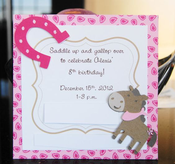 Horse, Cowgirl, Pink, Horseshoe, Hoedown, Personalized Invitations - Set of 10