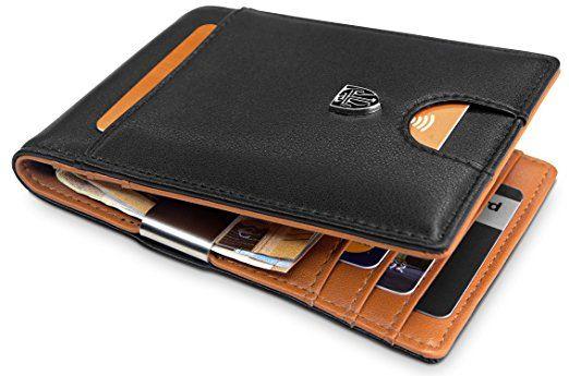 Leather Credit Card /& ID Holder Slim Design Black Brown Men/'s Wallet