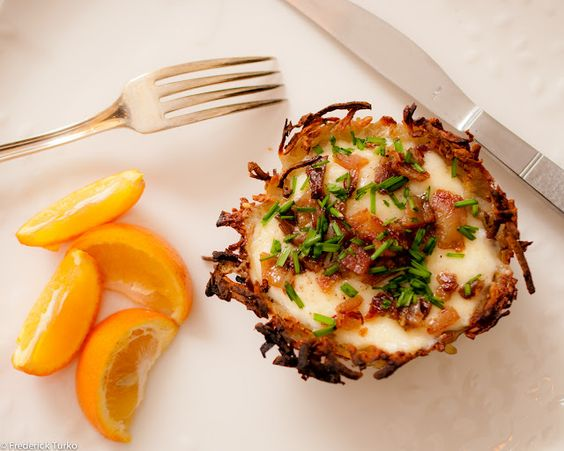 Eggs in a Basket with Maple Bacon, Fontina & Fresh Chives http://fforfood.blogspot.com/2012/04/egg-on-thy-neighbor.html