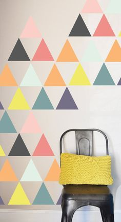 36 INDIVIDUAL Triangles 5x5 - Fully removable and reusable wall decals that will brighten and add character to any room | by The Lovely Wall