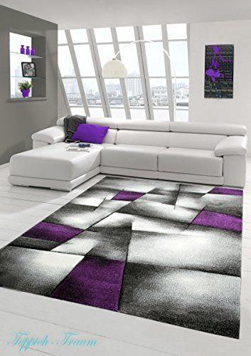 tapis contemporain bas contour pile de dcoupe 3d violet gris crme rver brillance - Tapis Moderne Violet