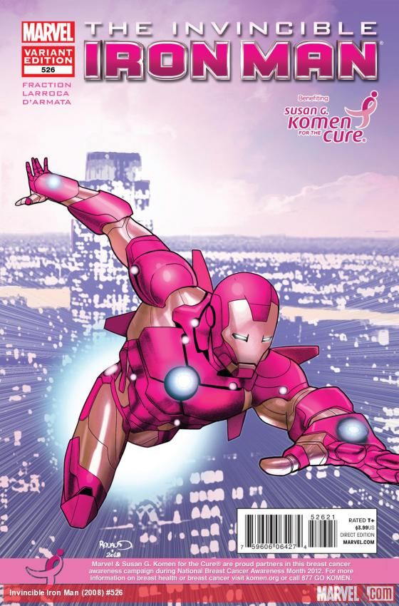 Invincible Iron Man #526 variant cover to commemorate National Breast Cancer Awareness Month!    https://marvel.com/news/story/19467/marvel_teams_with_susan_g_komen_for_the_cure