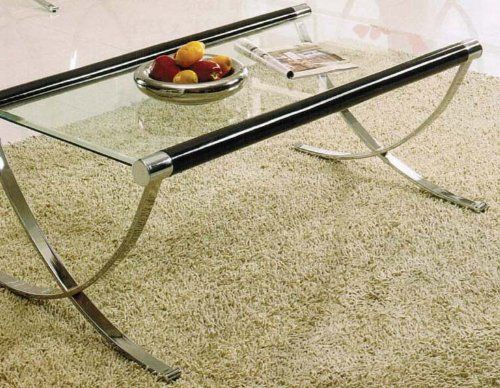 Coffee Table With Cross Metal Base In Chrome Finish Bereter 4 In
