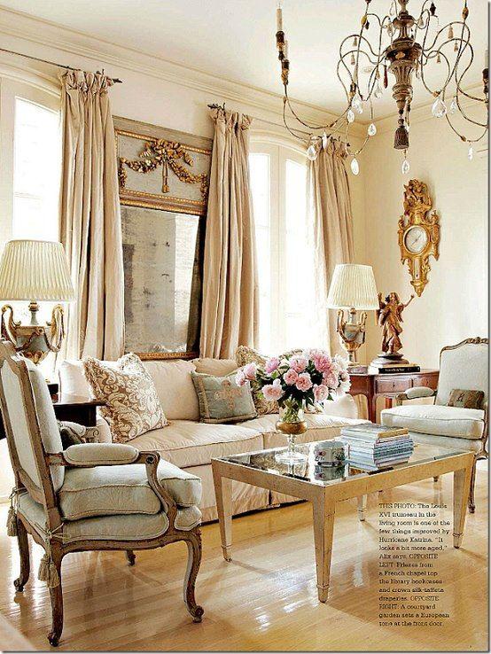 Gorgeous serene living space, Elegant interior design with French style / monochromatic whites, creams