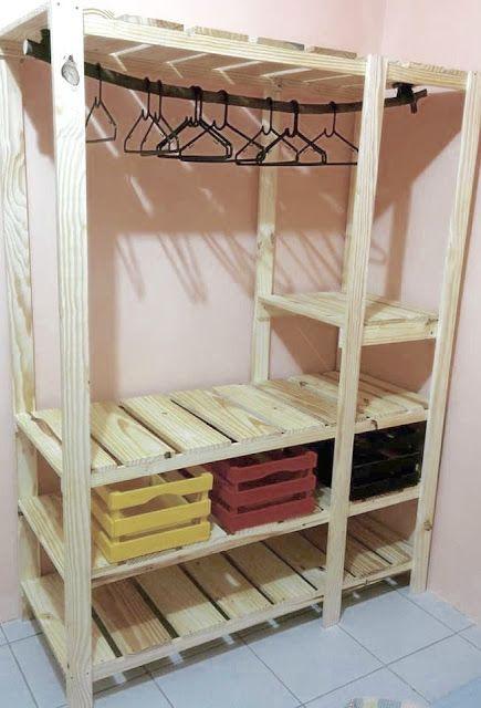 ARTE COM QUIANE - Paps e Moldes de Artesanato : Inspiracões de Closet feito de pallet e caixote de feira- DIY | Faça você mesmo #artecomquiane #diy #reciclagem #pallet #façavocêmesmo #decoração