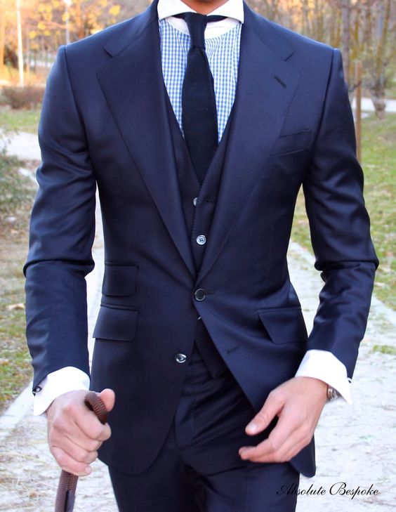 Blue three pieces Suit by Absolute Bespoke www.absolutebespoke.com